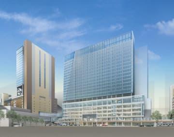 JR西日本が大阪駅西側に建設する新駅ビル(右)のイメージ