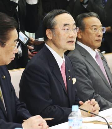 国と地方の協議の場であいさつする知事会長の飯泉嘉門徳島県知事(中央)=11日午後、首相官邸
