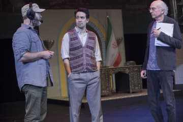 Nick Offerman, Lin Manuel Miranda, and Larry David in the last episode from season 9, rehersing David's musical, 'Fatwa! The musical'. - HBO/HBO/TNS