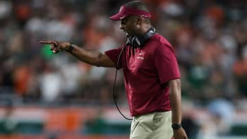 Florida State head coach Willie Taggart on the sidelines against Miami at Hard Rock Stadium in Miami Gardens, FL, on October 6, 2018. - MONICA HERNDON/Tampa Bay Times/TNS