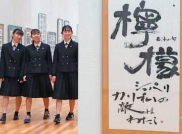 県内の高校生が書いた力作が並ぶ会場=12日午前、大分市美術館