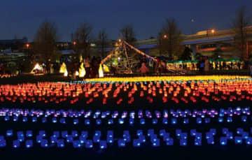 <初パレード>光のアート作品を展示「光のぷろむなぁど」 横浜南・蒔田公園