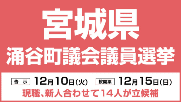 涌谷町議会議員選挙12月15日投開票、現新合わせて14人が立候補 宮城県