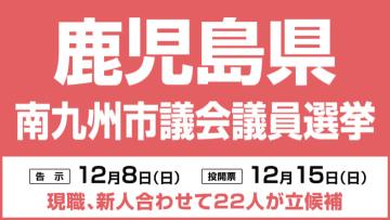 南九州市議会議員選挙は12月15日投開票、現新合わせて22人が立候補 鹿児島県