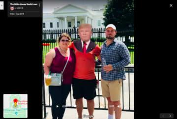 Googleマップのホワイトハウス南芝生(ホワイトハウス南側に設けられた芝生の庭園)用フォトギャラリーに投稿された、GIFアニメからクリップしたスクリーンショット
