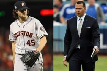 ヤンキースへの移籍が決定したゲリット・コール(左)と同球団OBのアレックス・ロドリゲス氏【写真:Getty Images】