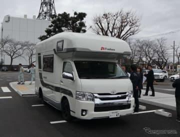 避難所等に派遣されるハイエースキャンピングカー