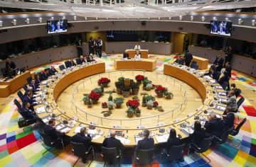 13日、ブリュッセルで開かれたEU首脳会議(AP=共同)