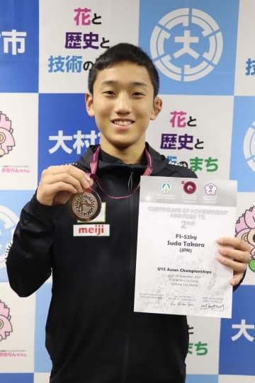 レスリングのアジア選手権で準優勝した須田さん=大村市役所