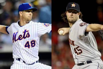 メッツのデグロム(左)、ヤンキースへの移籍が決定したコール【写真:Getty Images】