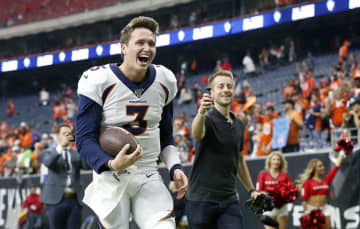Denver Broncos quarterback Drew Lock (3) celebrates as he heads to the locker room after a game against the Houston Texans at NRG Stadium in Houston on December 8, 2019. - Tim Warner/Getty Images North America/TNS