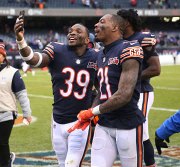 Chicago Bears safeties Eddie Jackson (39) and Ha Ha Clinton-Dix (21) are in a mood to celebrate after a 19-14 win against the New York Giants at Soldier Field in Chicago on November 24, 2019. - Chris Sweda/Chicago Tribune/TNS