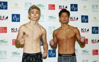 レオナ(左)と山本(右)が共にリミットの60kgで計量クリア(C)M-1 Sports Media