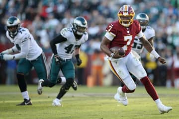 Washington Redskins quarterback Dwayne Haskins (7) runs the ball in the third quarter during a game against the Philadelphia Eagles on Dec. 15, 2019 at FedExField Stadium in Landover, MD. - Tim Tai/The Philadelphia Inquirer/TNS