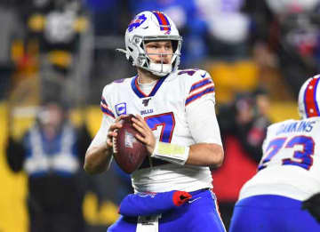 PITTSBURGH, PENNSYLVANIA - DECEMBER 15: Josh Allen #17 of the Buffalo Bills looks to pass during the first half against the Pittsburgh Steelers in the game at Heinz Field on December 15, 2019 in Pittsburgh, Pennsylvania.