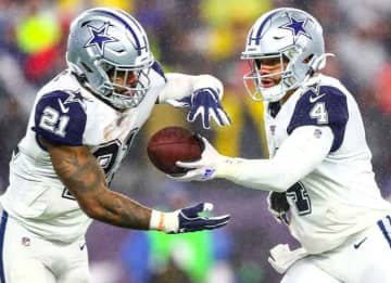 FOXBOROUGH, MA - NOVEMBER 24: Dak Prescott #4 hands the ball off to x#21 of the Dallas Cowboys during a game against the New England Patriots at Gillette Stadium on November 24, 2019 in Foxborough, Massachusetts.
