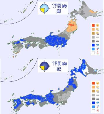 17日(火)朝と夜の天気分布予想