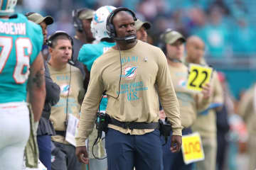 Miami Dolphins head coach Brian Flores watches from the sidelines during the second half of the game against the Buffalo Bills at Hard Rock Stadium on Nov. 17, 2019 in Miami Gardens, Fla. - John McCall/Sun Sentinel/TNS