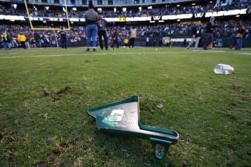 A view of a torn off piece of a stadium seat thrown on the field by fans after the Oakland Raiders lost to the Jacksonville Jaguars at RingCentral Coliseum on Dec. 15, 2019 in Oakland, Calif. - Daniel Shirey/Getty Images North America/TNS