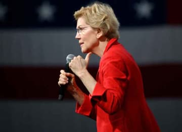 DES MOINES, IA - AUGUST 10: Democratic presidential candidate Sen. Elizabeth Warren (D-MA) speaks on stage during a forum on gun safety at the Iowa Events Center on August 10, 2019 in Des Moines, Iowa. Today Warren and her campaign introduced a...
