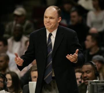 On January 29, 2005, Chicago Bulls head coach Scott Skiles reacts to a referee's call during action against the Boston Celtics at the United Center in Chicago. - Nuccio DiNuzzo/Chicago Tribune/TNS