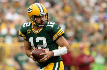 Green Bay Packers quarterback Aaron Rodgers drops back to pass against the Minnesota Vikings during a game at Lambeau Field in Green Bay, Wis., on September 15, 2019. - Dylan Buell/Getty Images North America/TNS