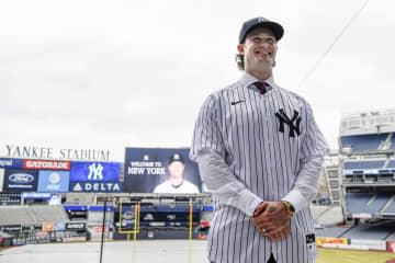 ヤンキースに移籍したゲリット・コール投手=18日、ニューヨーク(USA TODAY・ロイター=共同)