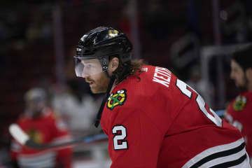 The Chicago Blackhawks' Duncan Keith (2) on the ice before action against the Colorado Avalanche on Wednesday, Dec. 18, 2019, at the United Center in Chicago. - Erin Hooley/Chicago Tribune/TNS
