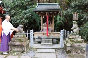 年賀状用の写真撮影などで訪れる人が増えている大国社の「こまネズミ」(京都市左京区・大豊神社)