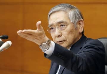 金融政策決定会合後に記者会見する日銀の黒田総裁=19日午後、日銀本店