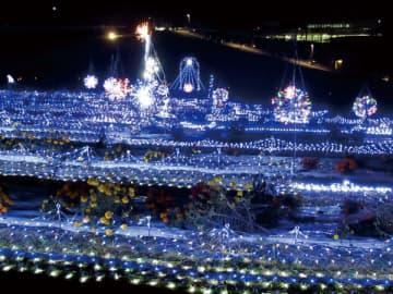 <イルミ>広大な光りのじゅうたん 青く輝く 本庄・マリーゴールドの丘に6万球 20年1月13日まで