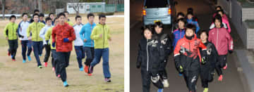全国高校駅伝に出場する男子・一関学院(左)と女子・盛岡誠桜