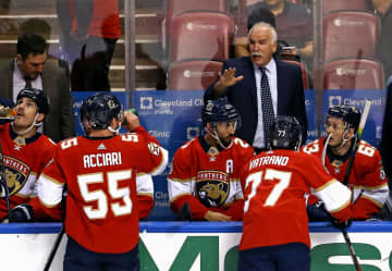 Florida Panthers head coach Joel Quenneville gives instructions to his team against the New York Islanders at the BB&T; Center in Sunrise, Fla., on December 12, 2019. - DAVID SANTIAGO/Miami Herald/TNS