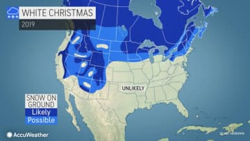 Forecasters say mild temperatures will limit the chances of fresh snow coating the ground on Christmas morning 2019 in many areas of the United States. (AccuWeather/)