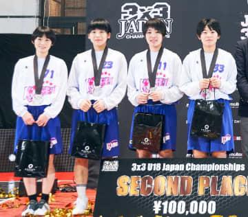 表彰式で笑顔を見せるIversonのメンバー(日本バスケットボール協会提供)