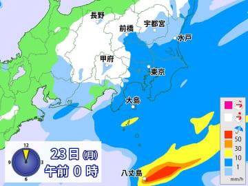 23日(月)午前0時の雨と雪の予想