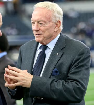 Dallas Cowboys owner Jerry Jones on the field before a game against the Baltimore Ravens on November 20, 2016, at AT&aT; Stadium in Arlington, Texas. - Steve Nurenberg/Fort Worth Star-Telegram/TNS