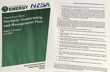 「2020会計年度から臨界前核実験を年2回実施する」と明記された米核安全保障局の年次報告書
