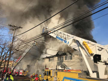 A 3-alarm fire broke out in a commercial area of Netcong around 7 a.m. on Sunday, Dec. 22, 2019. (Ed Murray/)