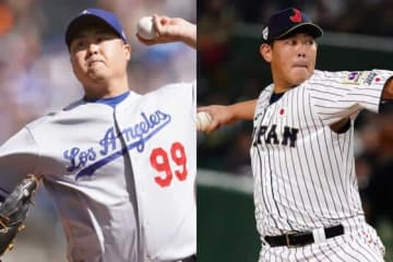 来季ブルージェイズで同僚となる柳賢振と山口俊(左から)【写真:Getty Images】