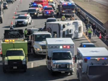 A rollover wreck tied up an already difficult traffic situation the morning of Dec. 23, 2019, on Interstate 78 West in Greenwich Township. (Rich Maxwell | lehighvalleylive.com contributor/)
