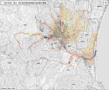 浸水範囲と水深を示した一宮川の新しい想定区域図