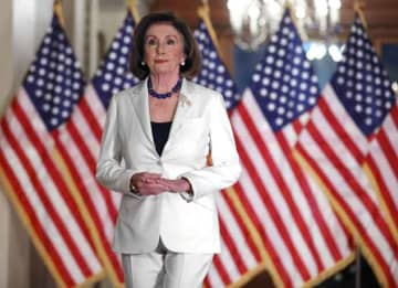 WASHINGTON, DC - DECEMBER 05: Speaker of the House Nancy Pelosi (D-CA) announced that the House will proceed with articles of impeachment against President Donald Trump at the Speaker's Balcony in the U.S. Capitol December 05, 2019 in Washington, DC.