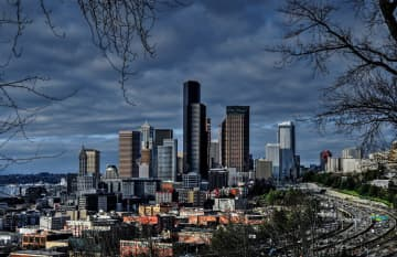 Seattle on cloudy day from Dr. Jose Rizal Park. The city on Friday had the darkest day ever recorded in its history (or at least since 1996, when the devices were installed. - Dreamstime/Seattle Times/TNS