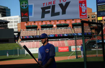 Kris Bryant during batting practice before taking on the Cardinals at Busch Stadium in St. Louis on July 30, 2019. - E. Jason Wambsgans/Chicago Tribune/TNS
