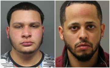 Jairo Echeverry (left) and Brian Guerrero were arrested in Brooklyn. Authorities say Echeverry shot a 22-year-old man in Hackensack Sunday. (Bergen County Prosecutor's Office/)