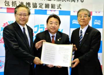 協定を締結した(左から)川本理事長、清水市長、台理事長
