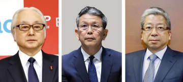 左から日本郵政の長門正貢社長、かんぽ生命の植平光彦社長、日本郵便の横山邦男社長