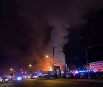 Firefighters fought a multiple-alarm blaze at a commercial building in Mahwah that began in the early morning hours on Christmas Day, officials said. (via Mahwah Fire Department Rescue Company 1/)