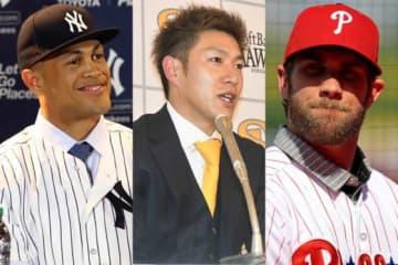 大型契約が話題となったヤンキース・スタントン、ソフトバンク・柳田、フィリーズ・ハーパー(左から)【写真:Getty Images、藤浦一都】